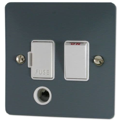 G&H FDG56W Flat Plate Dark Grey 1 Gang Fused Spur 13A Switched & Flex Outlet